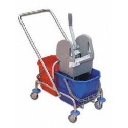 Chromowany wózek z wyciskarką 2x15L TTS.