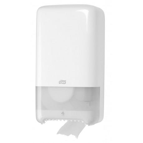 Dozownik Tork do papieru toaletowego z automatyczną zmianą rolek.